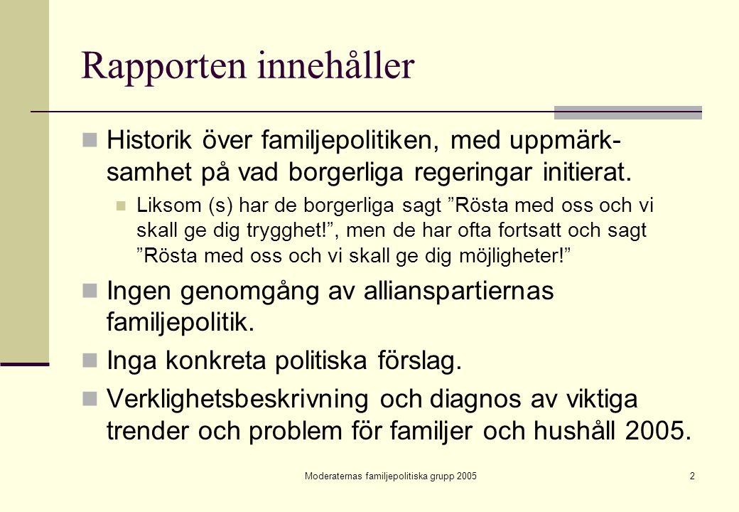 Moderaternas familjepolitiska grupp 200523 Fyra varianter av jämställdhet Jämställd familj Ojämställd familj Jämställt hushåll Typ 1Typ 2 Ojämställt hushåll Typ 3Typ 4 Den jämställda familjen i det ojämställda hushållet (Typ 3) tycks vara en vanlig och seg struktur i dagens Sverige.