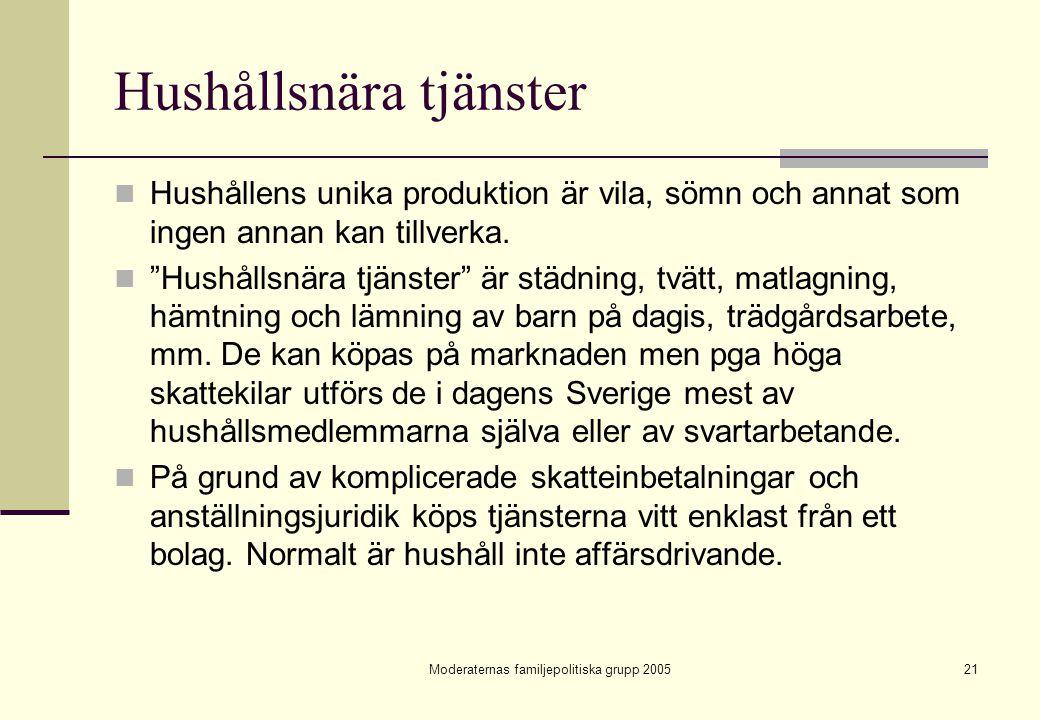 """Moderaternas familjepolitiska grupp 200521 Hushållsnära tjänster Hushållens unika produktion är vila, sömn och annat som ingen annan kan tillverka. """"H"""