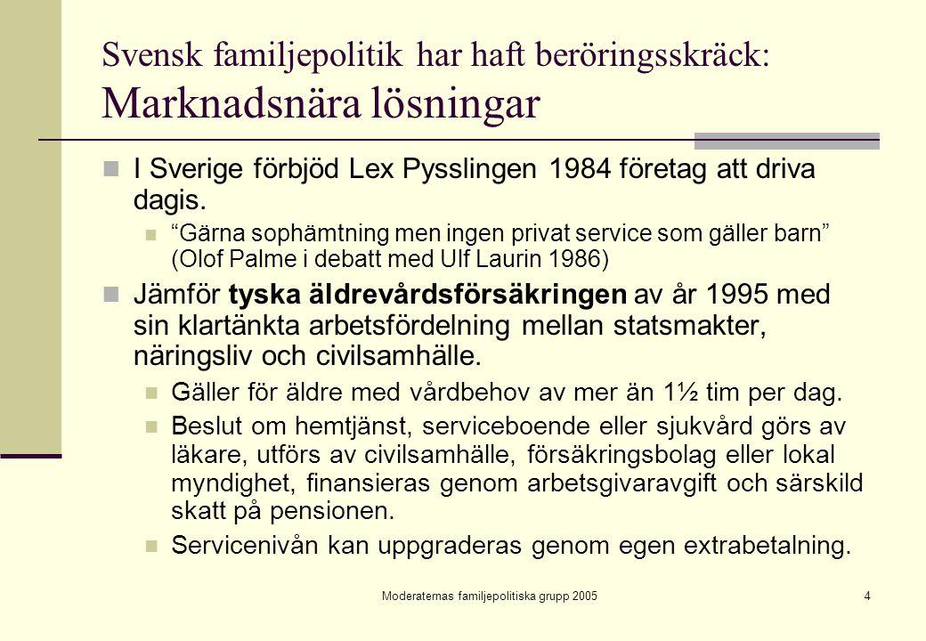 Moderaternas familjepolitiska grupp 20054 Svensk familjepolitik har haft beröringsskräck: Marknadsnära lösningar I Sverige förbjöd Lex Pysslingen 1984