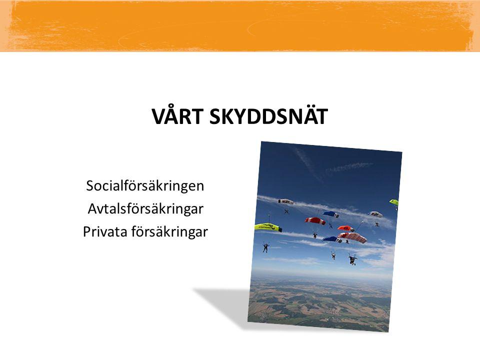 VÅRT SKYDDSNÄT Socialförsäkringen Avtalsförsäkringar Privata försäkringar