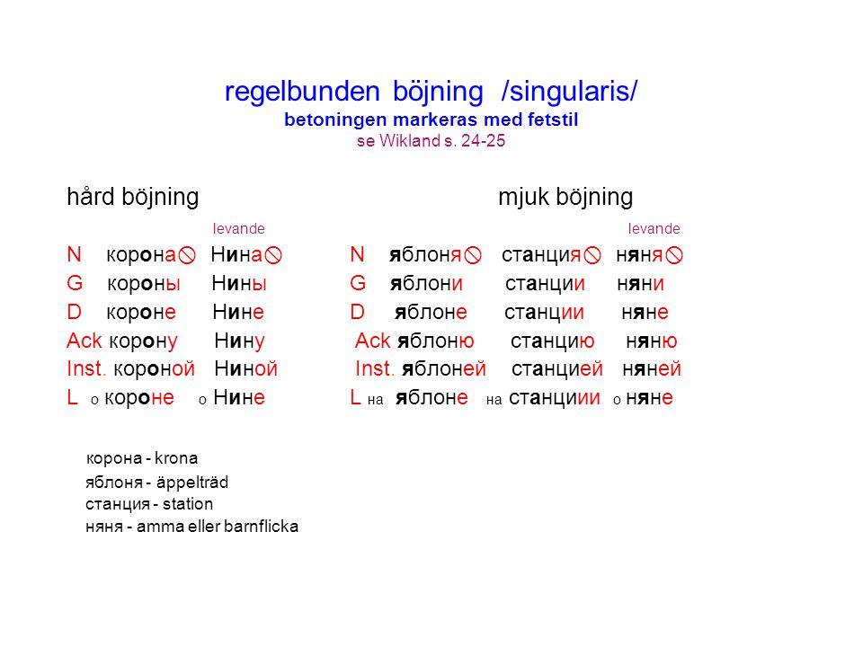 regelbunden böjning /singularis/ betoningen markeras med fetstil se Wikland s. 24-25 hård böjning mjuk böjning levande levande N корона  Нина  N ябл