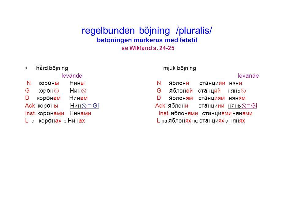 Andra deklinationen undantag i G.pl.se Wikland s 28-29 1.Inskottvokal i Genitiv pl.