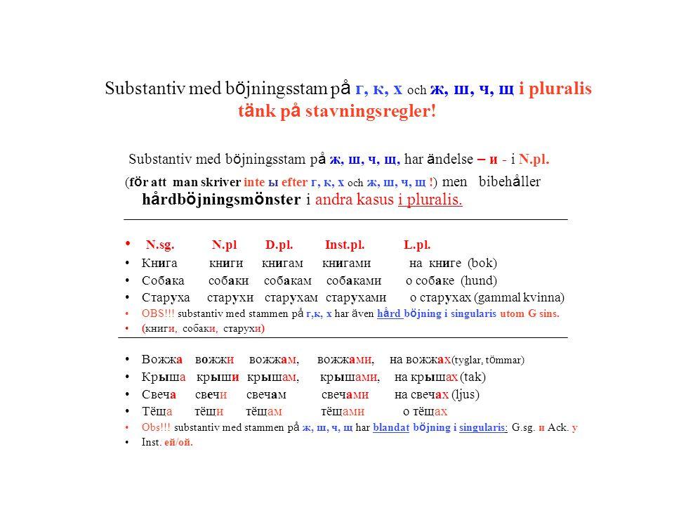 Substantiv med b ö jningsstam p å г, к, х och ж, ш, ч, щ i pluralis t ä nk p å stavningsregler! Substantiv med b ö jningsstam p å ж, ш, ч, щ, har ä nd