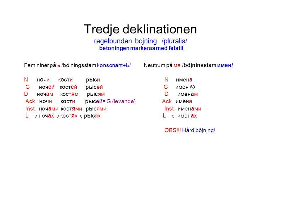 Tredje deklinationen regelbunden böjning /pluralis/ betoningen markeras med fetstil Femininer på ь /böjningsstam konsonant+Ь/ Neutrum på мя /böjninsst