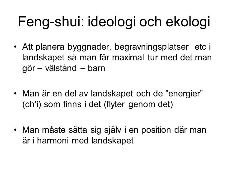 Feng-shui: ideologi och ekologi Att planera byggnader, begravningsplatser etc i landskapet så man får maximal tur med det man gör – välstånd – barn Man är en del av landskapet och de energier (ch'i) som finns i det (flyter genom det) Man måste sätta sig själv i en position där man är i harmoni med landskapet