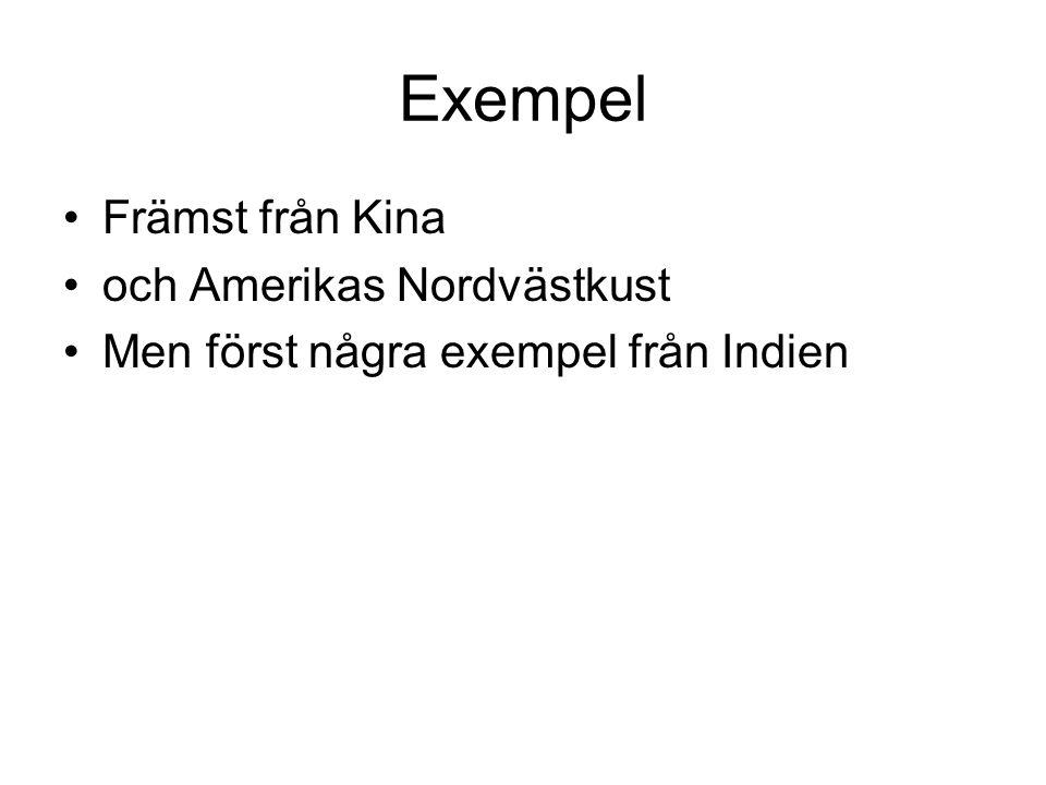 Exempel Främst från Kina och Amerikas Nordvästkust Men först några exempel från Indien