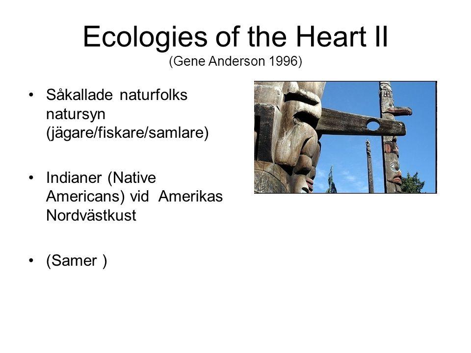 Ecologies of the Heart II (Gene Anderson 1996) Såkallade naturfolks natursyn (jägare/fiskare/samlare) Indianer (Native Americans) vid Amerikas Nordvästkust (Samer )