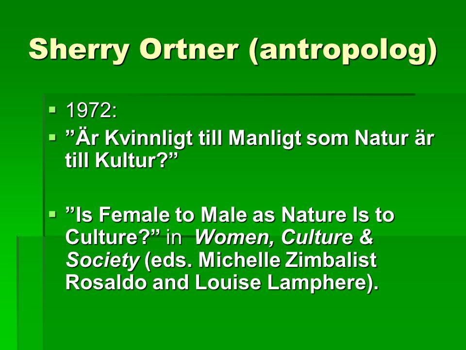 Sherry Ortner (antropolog)  1972:  Är Kvinnligt till Manligt som Natur är till Kultur?  Is Female to Male as Nature Is to Culture? in Women, Culture & Society (eds.
