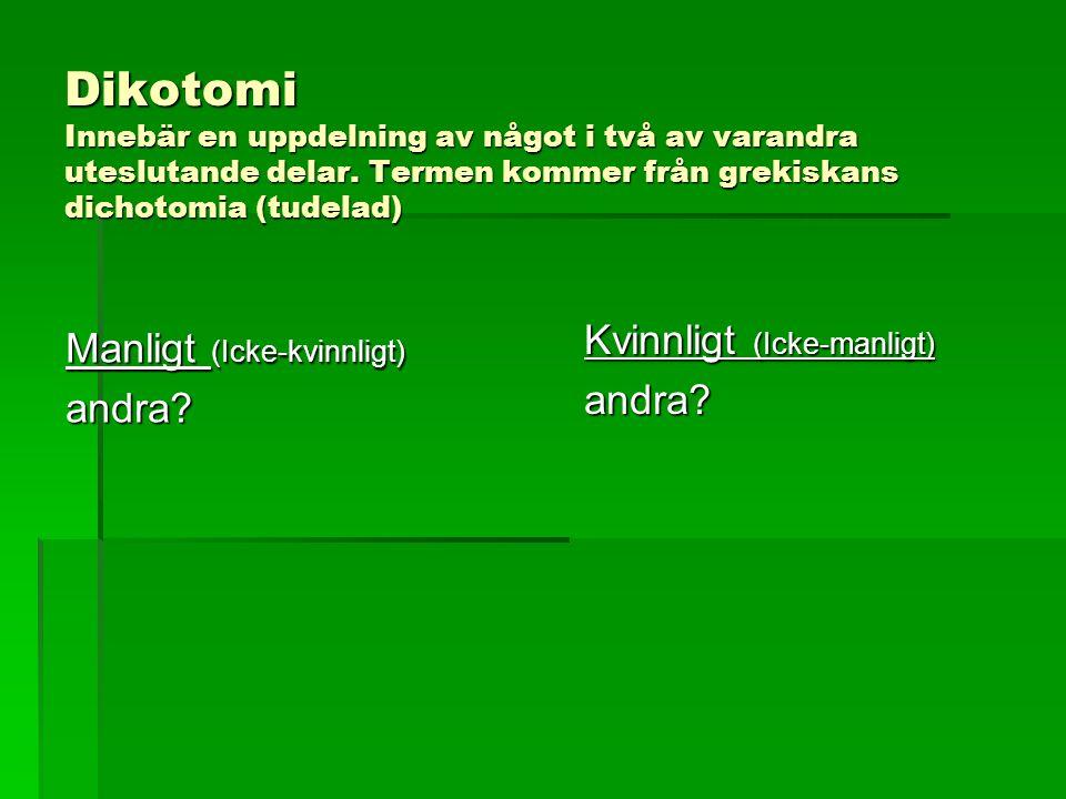 Dikotomi Innebär en uppdelning av något i två av varandra uteslutande delar.