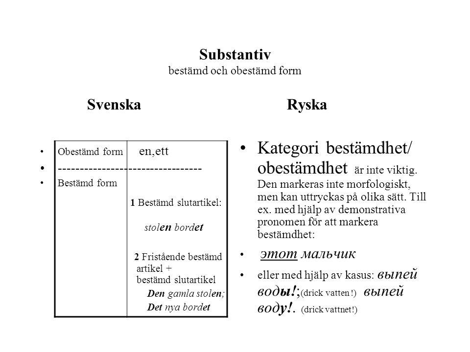 Substantiv bestämd och obestämd form Svenska Obestämd form en,ett --------------------------------- Bestämd form 1 Bestämd slutartikel: stol en bord e