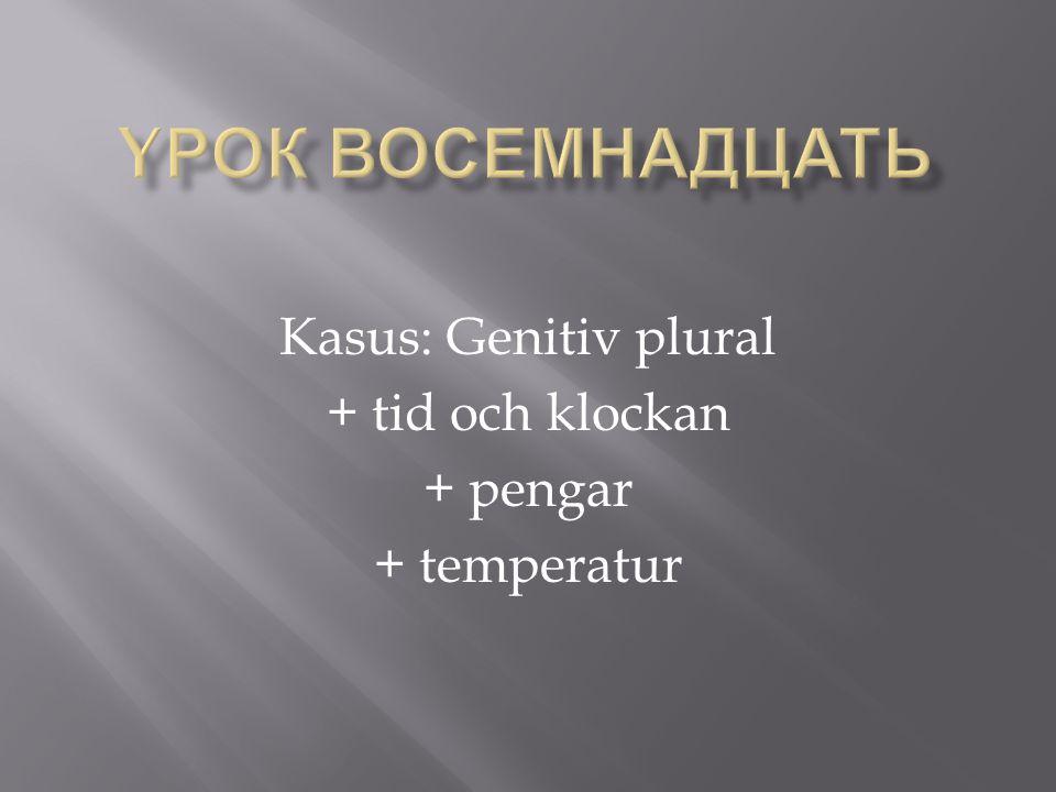 Kasus: Genitiv plural + tid och klockan + pengar + temperatur