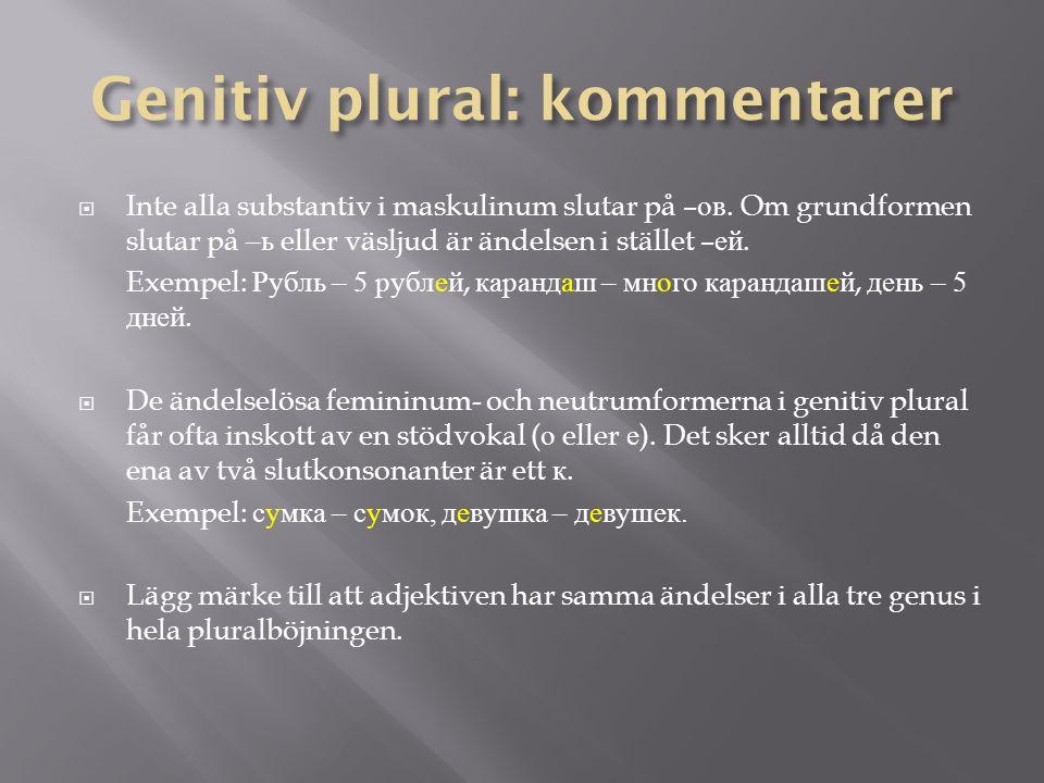 Genitiv plural har självklart samma funktioner som i genitiv singular.