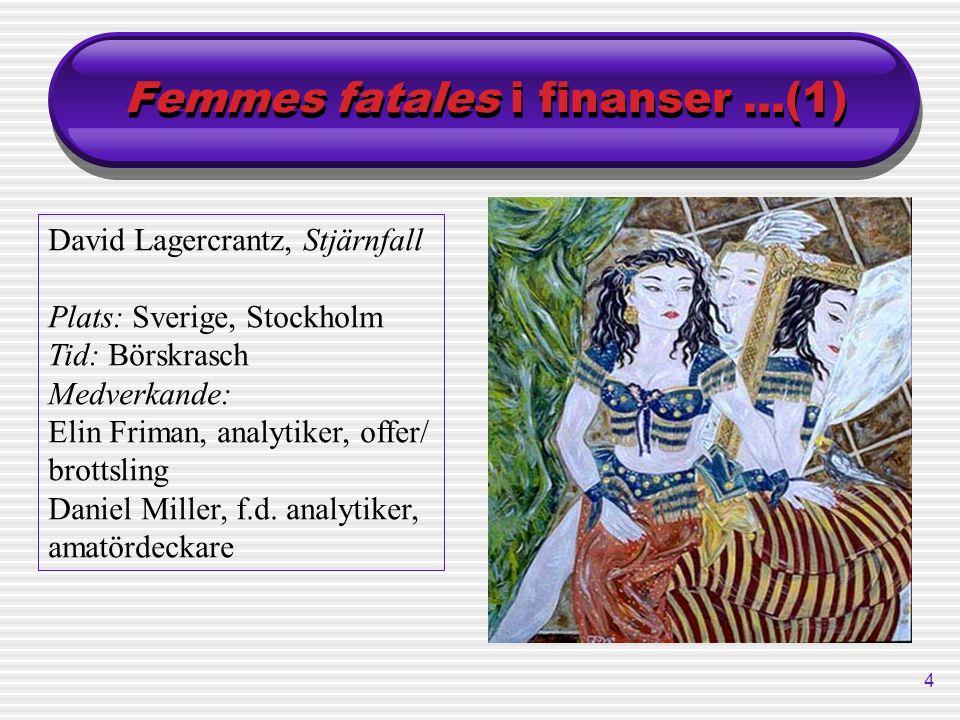 4 Femmes fatales i finanser...(1) David Lagercrantz, Stjärnfall Plats: Sverige, Stockholm Tid: Börskrasch Medverkande: Elin Friman, analytiker, offer/