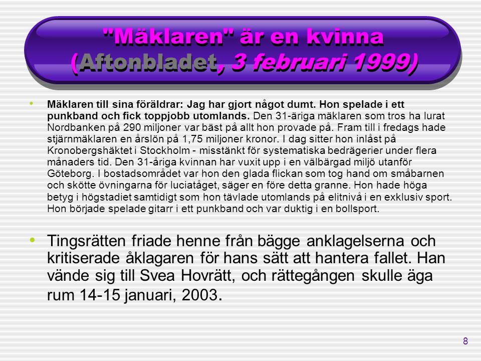 8 Mäklaren är en kvinna (Aftonbladet, 3 februari 1999) Mäklaren till sina föräldrar: Jag har gjort något dumt.
