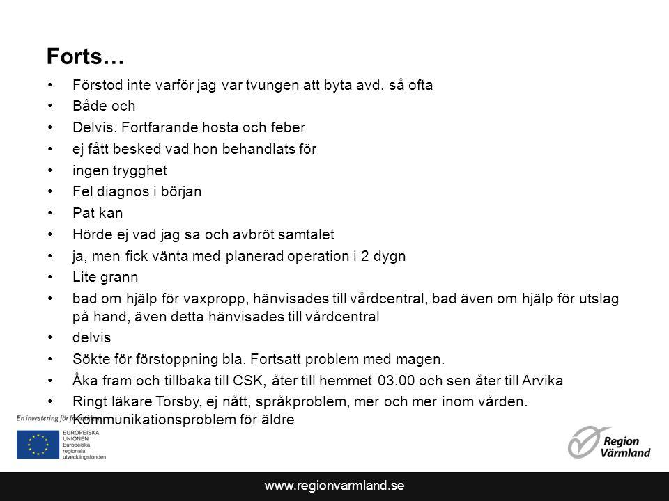 www.regionvarmland.se Forts… Förstod inte varför jag var tvungen att byta avd.