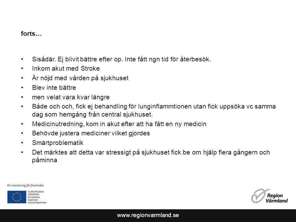 www.regionvarmland.se forts… Sisådär. Ej blivit bättre efter op.