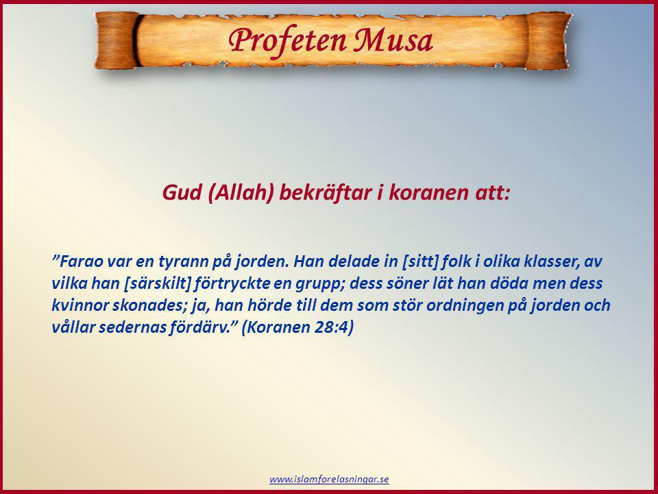www.islamforelasningar.se Musas födelse Profeten Musa  Musa föds under den här utsatta tiden Och Vi ingav Musa moder: Amma honom, men när du tror att hans liv är i fara, sätt då ut honom i [Nilen]. Gud (Allah) återger i koranen: Oroa dig inte och sörj inte; Vi skall låta honom återvända till dig och Vi skall göra honom till en av [Våra] budbärare! (Koranen 28:7)