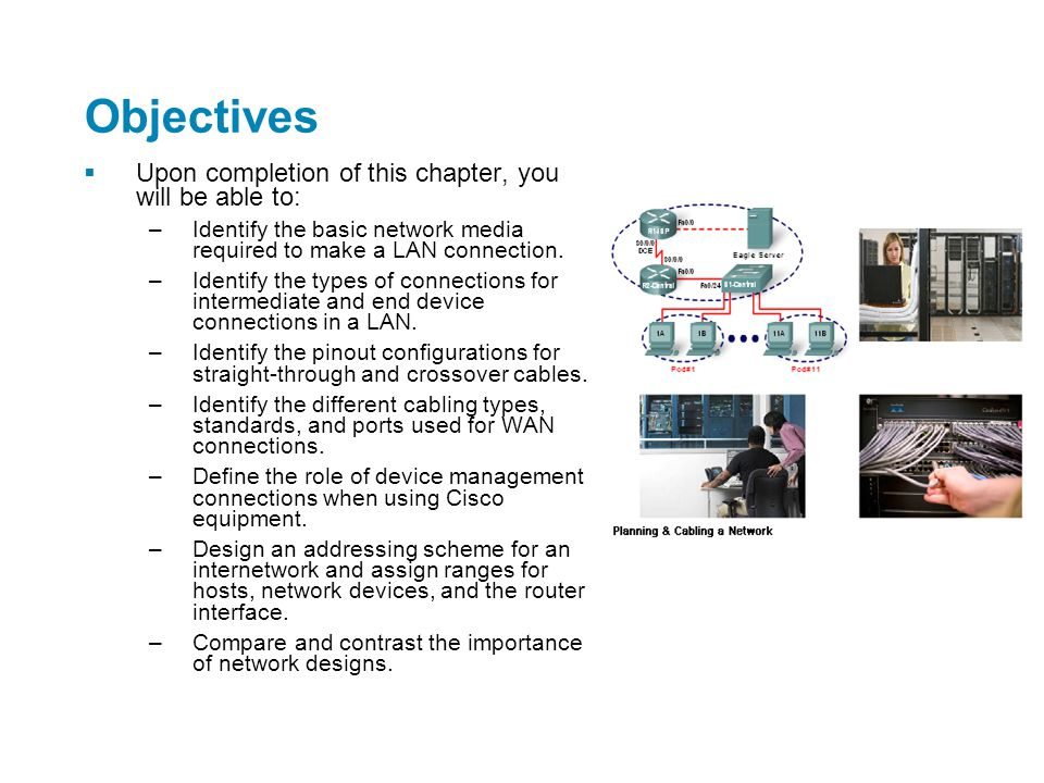 Objectives  Upon completion of this chapter, you will be able to: –Identify the basic network media required to make a LAN connection. –Identify the
