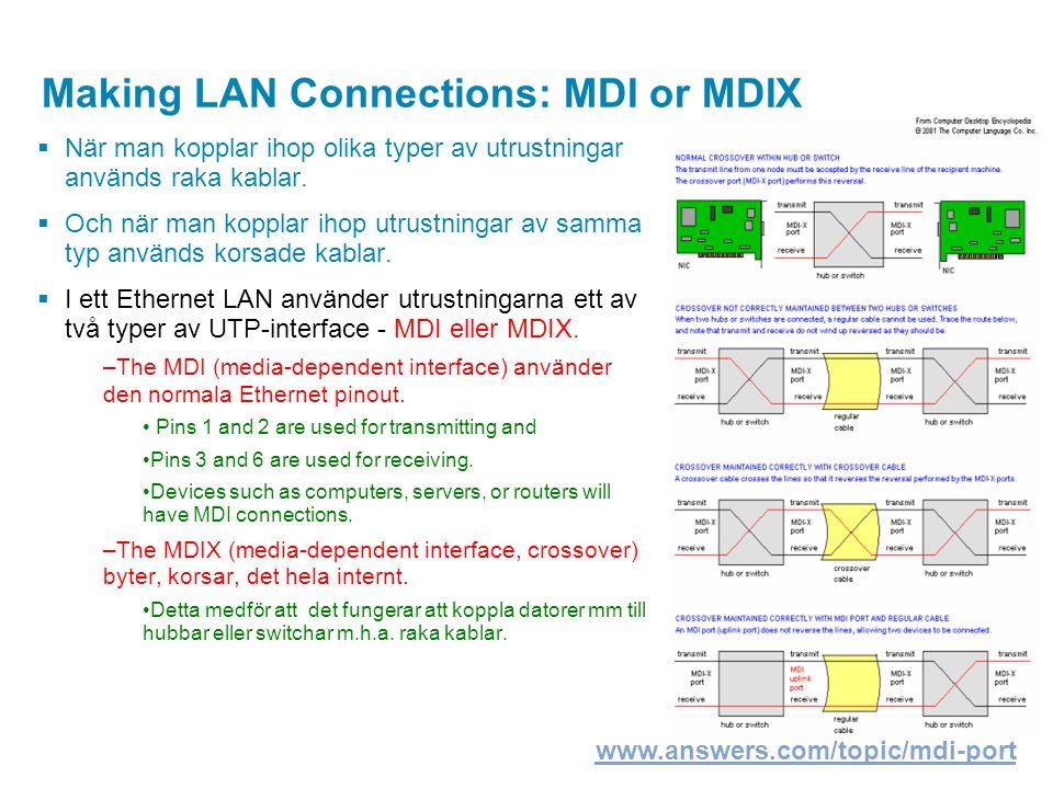 Making LAN Connections: MDI or MDIX  När man kopplar ihop olika typer av utrustningar används raka kablar.  Och när man kopplar ihop utrustningar av