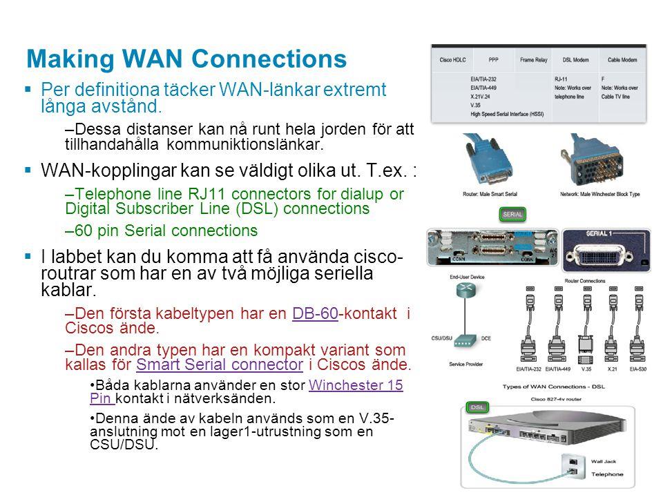 Making WAN Connections  Per definitiona täcker WAN-länkar extremt långa avstånd. –Dessa distanser kan nå runt hela jorden för att tillhandahålla komm