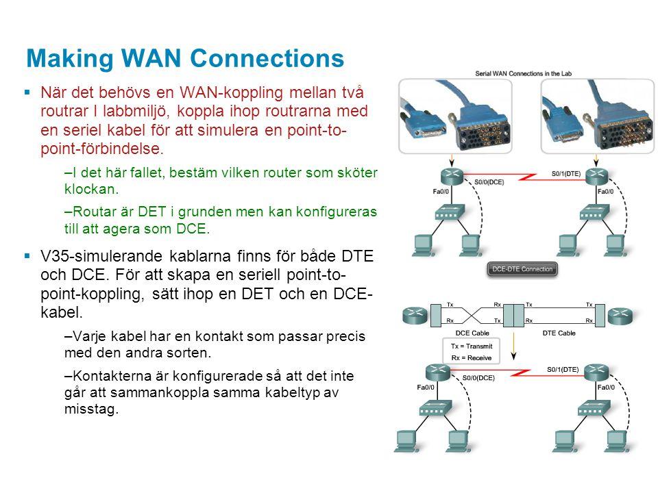 Making WAN Connections  När det behövs en WAN-koppling mellan två routrar I labbmiljö, koppla ihop routrarna med en seriel kabel för att simulera en