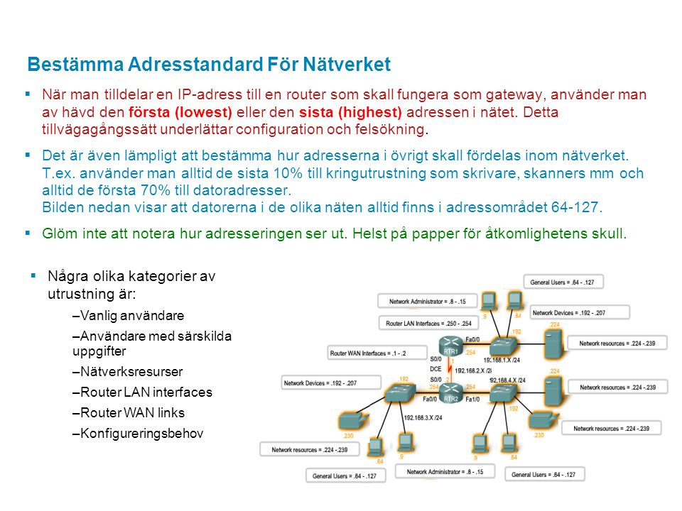 Bestämma Adresstandard För Nätverket  När man tilldelar en IP-adress till en router som skall fungera som gateway, använder man av hävd den första (l