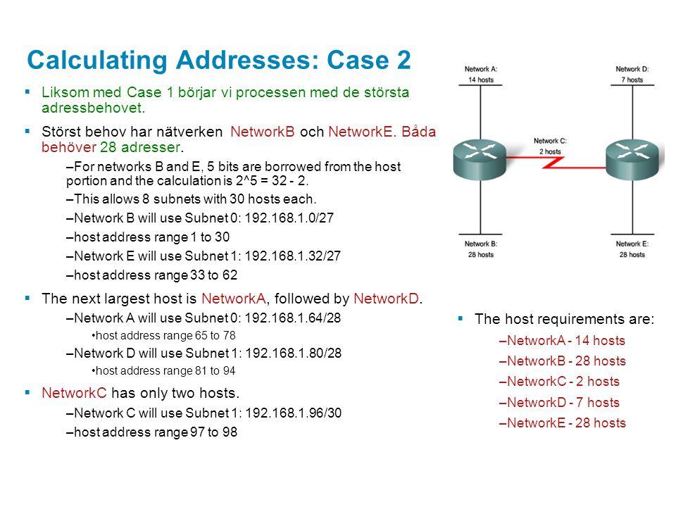 Calculating Addresses: Case 2  Liksom med Case 1 börjar vi processen med de största adressbehovet.  Störst behov har nätverken NetworkB och NetworkE