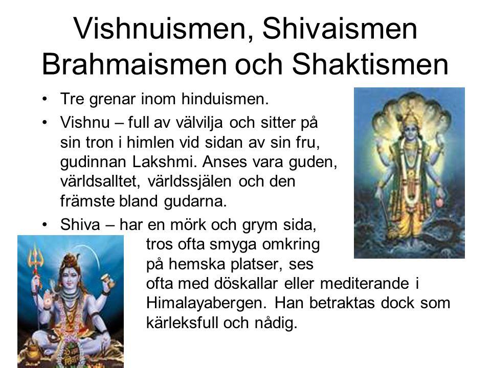 Vishnuismen, Shivaismen Brahmaismen och Shaktismen Tre grenar inom hinduismen. Vishnu – full av välvilja och sitter på sin tron i himlen vid sidan av