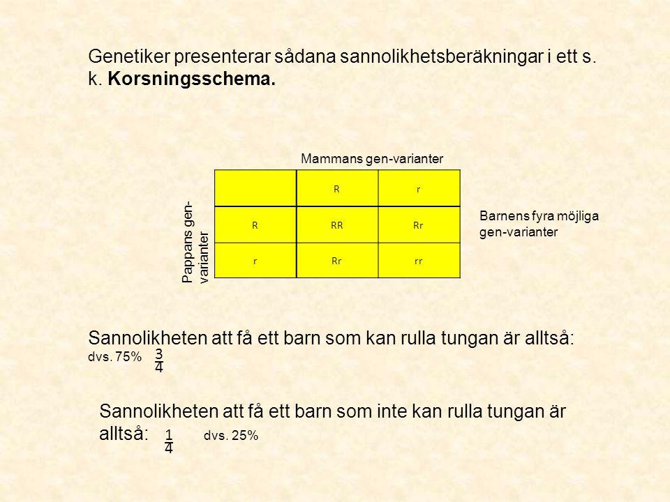 Rr RRRRr r rr Genetiker presenterar sådana sannolikhetsberäkningar i ett s. k. Korsningsschema. Mammans gen-varianter Pappans gen- varianter Barnens f