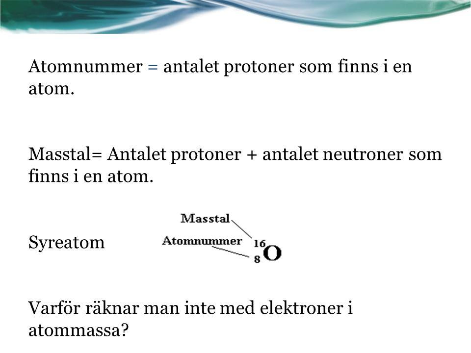 Isotoper Atomer av samma grundämne som har samma atomnummer men olika atommassa.