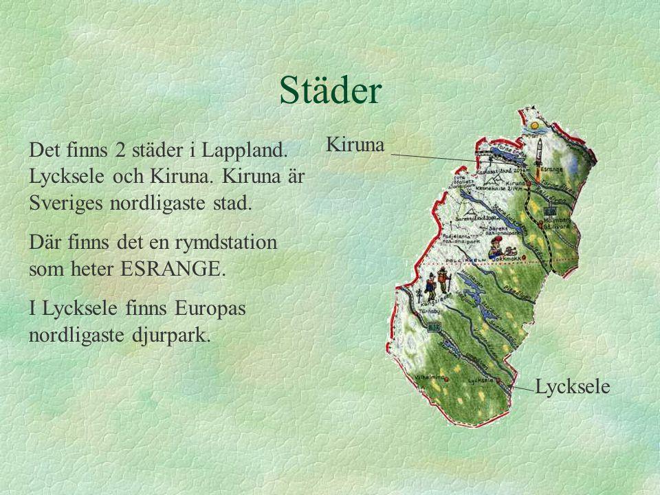Städer Det finns 2 städer i Lappland.Lycksele och Kiruna.