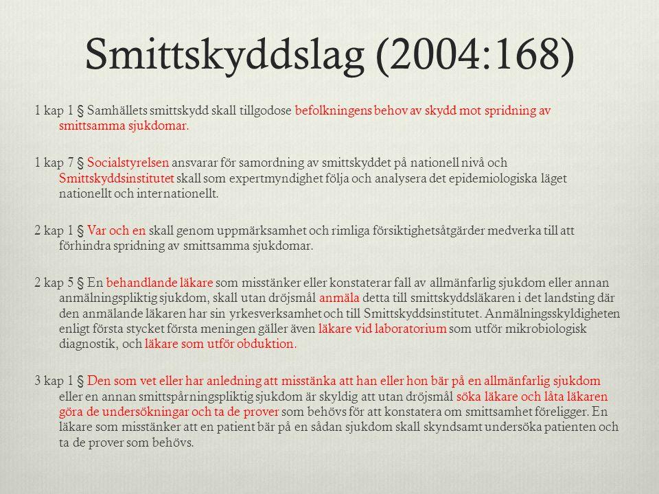 Smittskyddslag (2004:168) 1 kap 1 § Samhällets smittskydd skall tillgodose befolkningens behov av skydd mot spridning av smittsamma sjukdomar. 1 kap 7