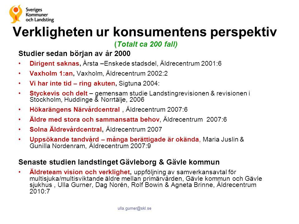 ulla.gurner@skl.se Verkligheten ur konsumentens perspektiv (Totalt ca 200 fall) Studier sedan början av år 2000 Dirigent saknas, Årsta –Enskede stadsd