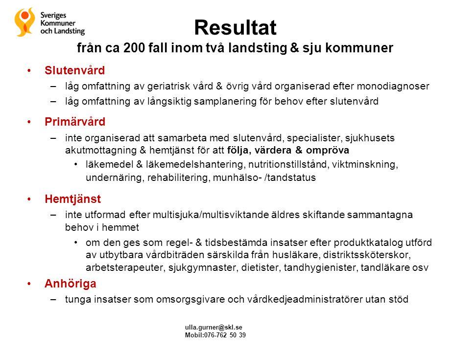 Resultat från ca 200 fall inom två landsting & sju kommuner Slutenvård –låg omfattning av geriatrisk vård & övrig vård organiserad efter monodiagnoser
