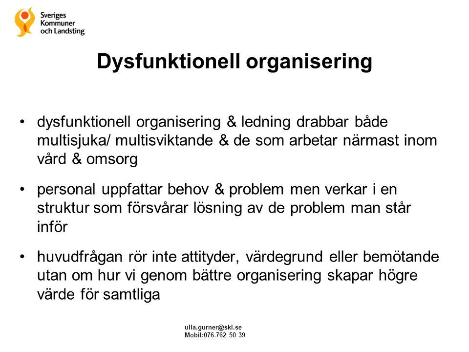 Dysfunktionell organisering dysfunktionell organisering & ledning drabbar både multisjuka/ multisviktande & de som arbetar närmast inom vård & omsorg
