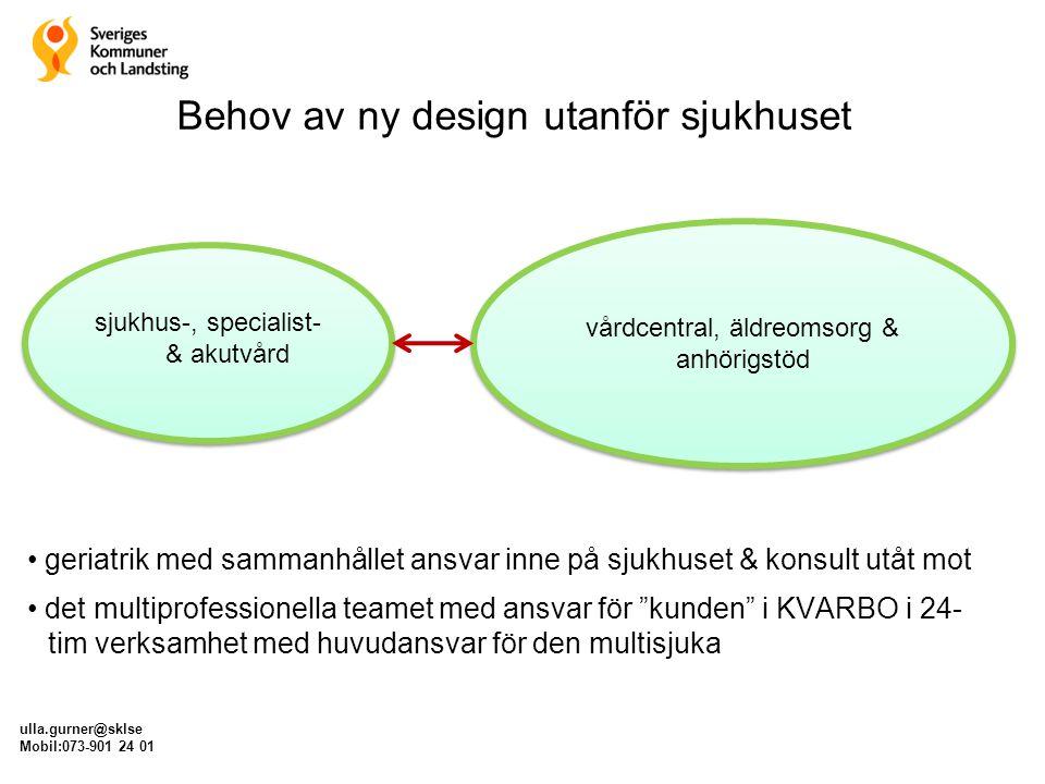 Behov av ny design utanför sjukhuset ulla.gurner@sklse Mobil:073-901 24 01 sjukhus-, specialist- & akutvård vårdcentral, äldreomsorg & anhörigstöd ger