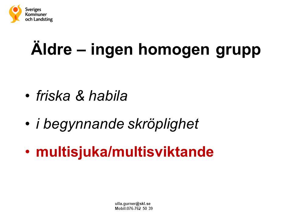 ulla.gurner@skl.se Mobil:076-762 50 39 Äldre – ingen homogen grupp friska & habila i begynnande skröplighet multisjuka/multisviktande