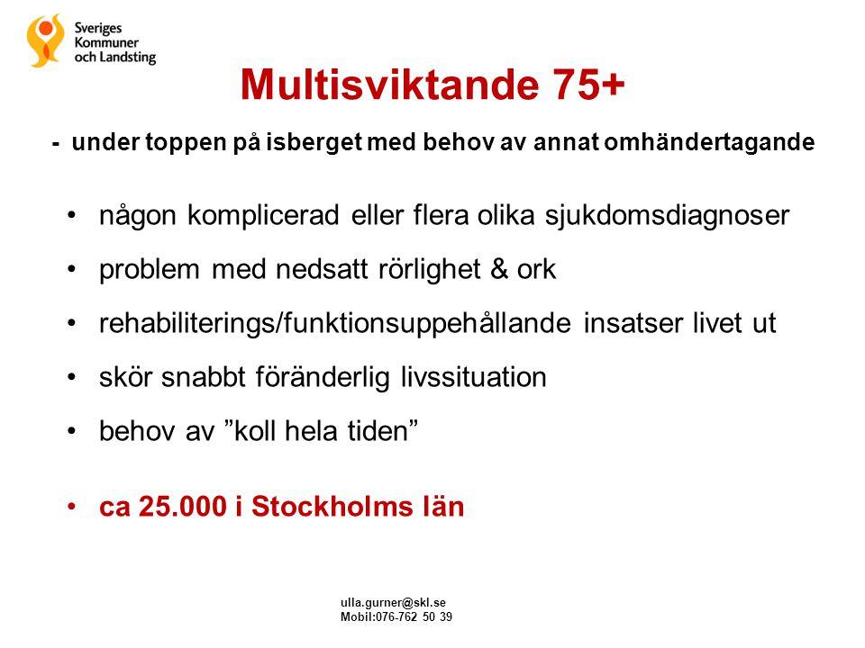 ulla.gurner@skl.se Mobil:076-762 50 39 Uppföljning/utvärdering ägnas oftast verksamheter – ur ett producentperspektiv frågeställningar ur ett professionsperspektiv frågeställningar inom ett lagsystem sjukdomar/behandling/rehabinsatser/läkemedel/fall/ nutrition/sår