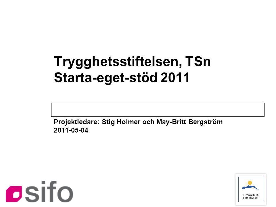 Trygghetsstiftelsen, TSn Starta-eget-stöd 2011 Projektledare: Stig Holmer och May-Britt Bergström 2011-05-04