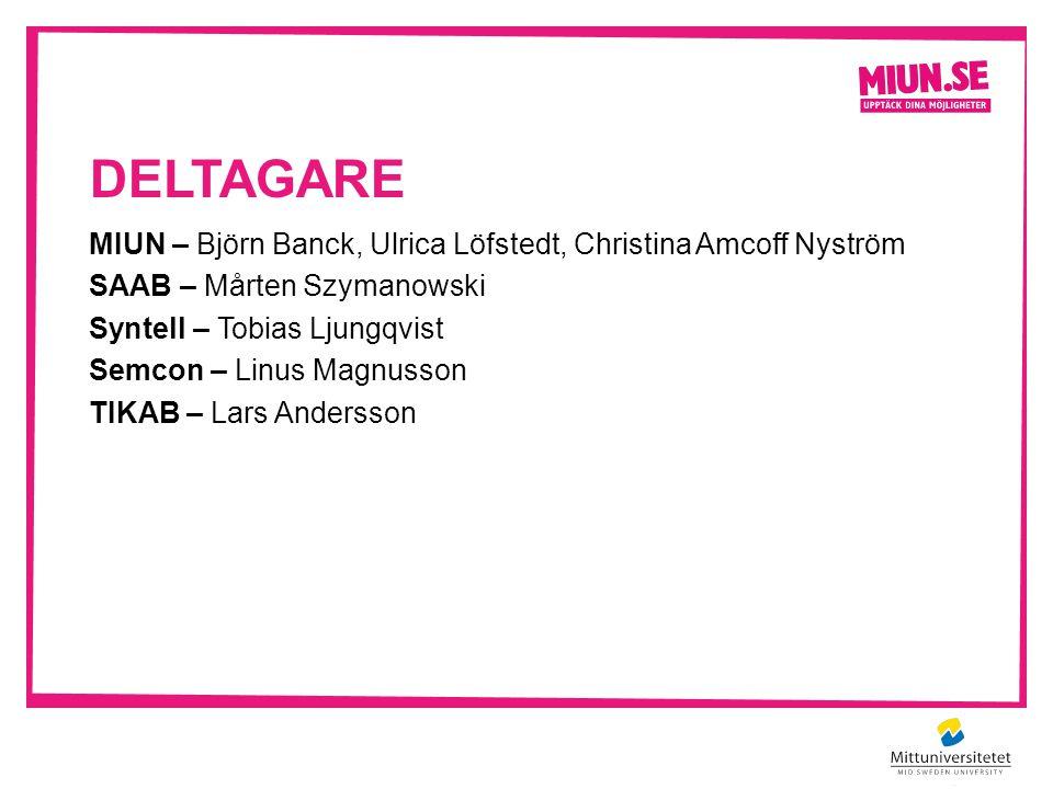 DELTAGARE MIUN – Björn Banck, Ulrica Löfstedt, Christina Amcoff Nyström SAAB – Mårten Szymanowski Syntell – Tobias Ljungqvist Semcon – Linus Magnusson TIKAB – Lars Andersson