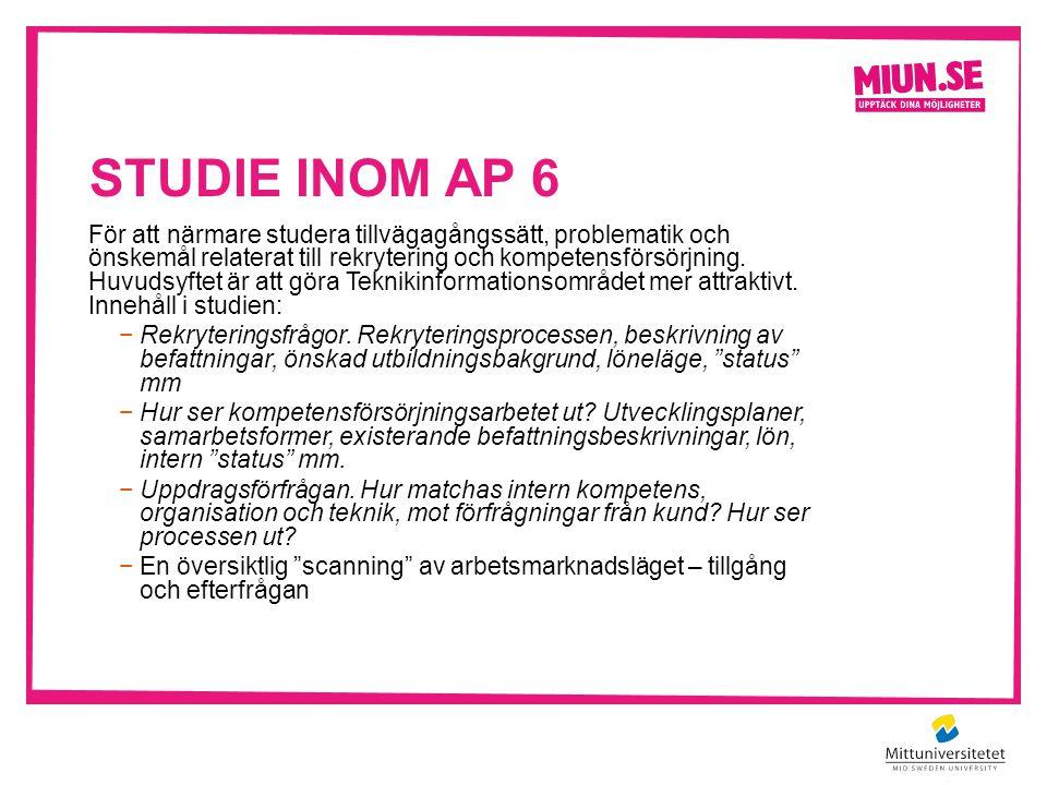STUDIE INOM AP 6 För att närmare studera tillvägagångssätt, problematik och önskemål relaterat till rekrytering och kompetensförsörjning.