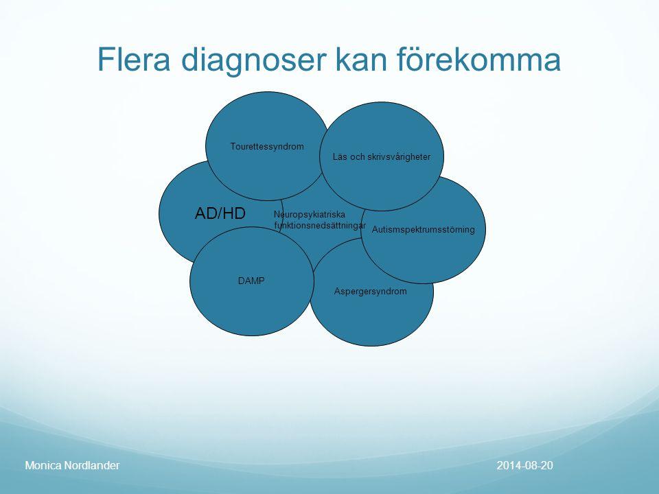Flera diagnoser kan förekomma 2014-08-20Monica Nordlander AD/HD Aspergersyndrom DAMP Tourettessyndrom Autismspektrumsstörning Läs och skrivsvårigheter