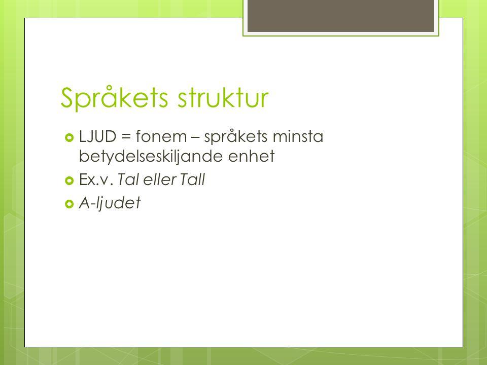 Språkets struktur  LJUD = fonem – språkets minsta betydelseskiljande enhet  Ex.v. Tal eller Tall  A-ljudet
