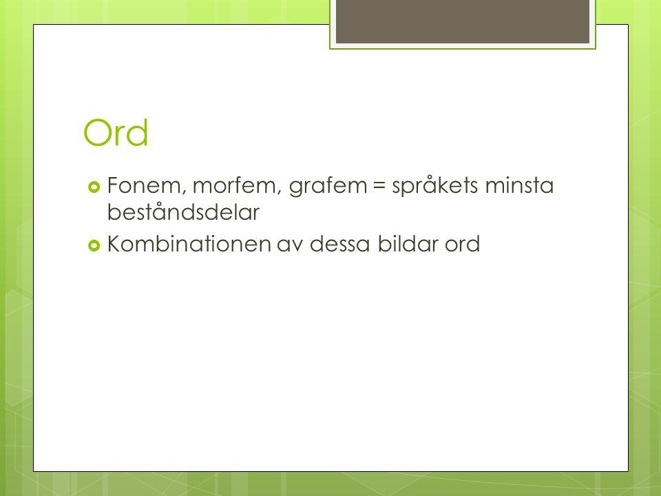 Ord  Fonem, morfem, grafem = språkets minsta beståndsdelar  Kombinationen av dessa bildar ord
