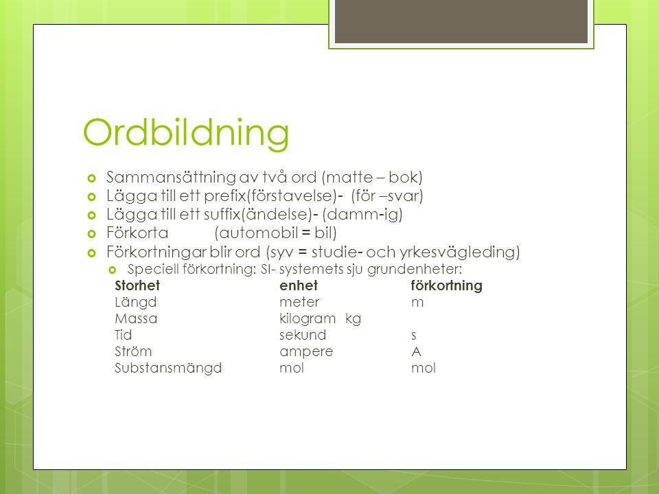 Ordbildning  Sammansättning av två ord (matte – bok)  Lägga till ett prefix(förstavelse)- (för –svar)  Lägga till ett suffix(ändelse)- (damm-ig) 