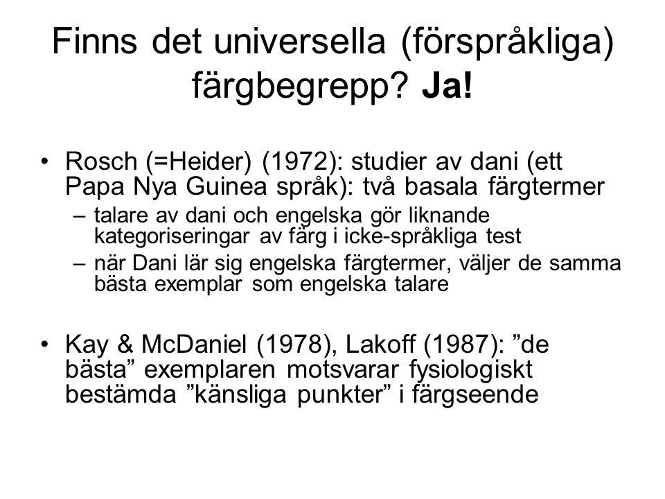 Finns det universella (förspråkliga) färgbegrepp? Ja! Rosch (=Heider) (1972): studier av dani (ett Papa Nya Guinea språk): två basala färgtermer –tala