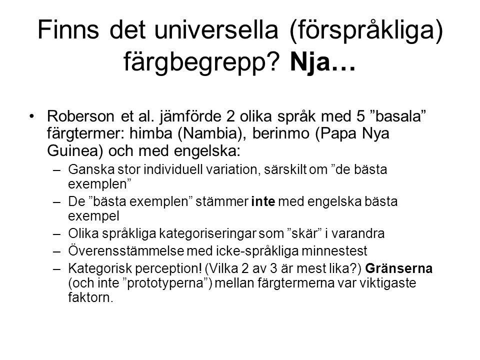 """Finns det universella (förspråkliga) färgbegrepp? Nja… Roberson et al. jämförde 2 olika språk med 5 """"basala"""" färgtermer: himba (Nambia), berinmo (Papa"""