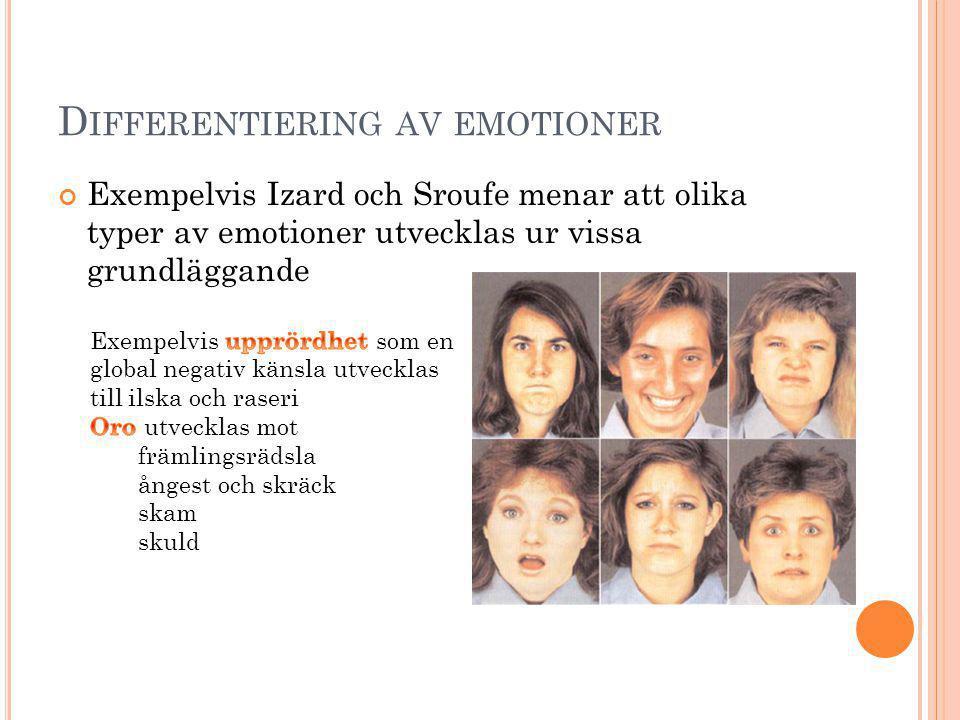 D IFFERENTIERING AV EMOTIONER Exempelvis Izard och Sroufe menar att olika typer av emotioner utvecklas ur vissa grundläggande