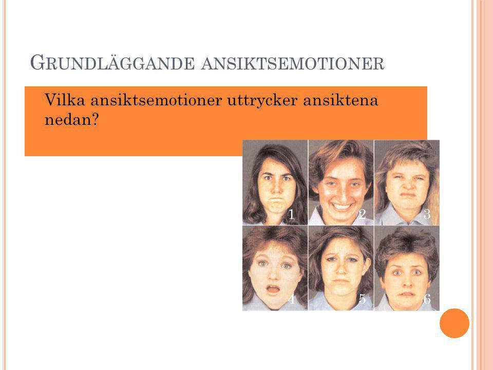G RUNDLÄGGANDE ANSIKTSEMOTIONER Vilka ansiktsemotioner uttrycker ansiktena nedan? 132 456