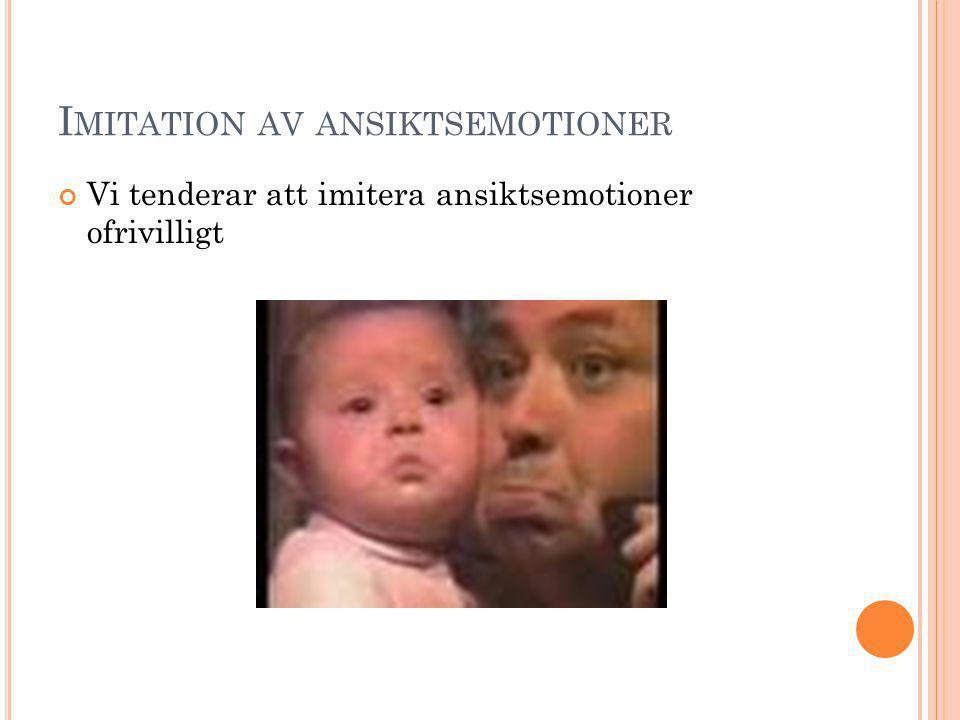 I MITATION AV ANSIKTSEMOTIONER Vi tenderar att imitera ansiktsemotioner ofrivilligt